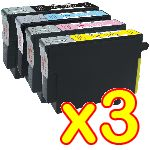 lot de 3 Packs Economique de 4 Cartouches Encre Epson 1 Noire + 1 Cyan + 1 Magenta + 1 Jaune Compatible Epson T0711 + T0712 + T0713 + T0714 , Compatible Epson C13T071140 + C13T071240 + C13T071340 + C13T071440